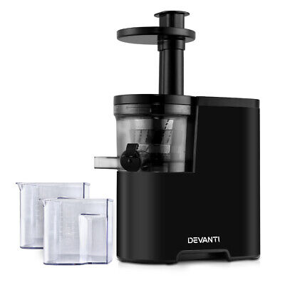Devanti Slow Juicer Cold Press Whole Fruit Stainless Steel Juice Extractor Mixer