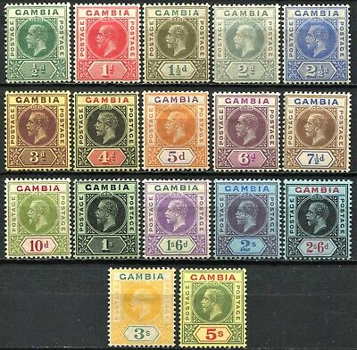 Gambia 1912 issue between SG 86 - 102, Mint Hinged, CV £200