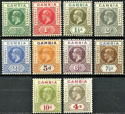 Gambia 1921 issue SG 108 - 117, Mint Hinged, CV £110