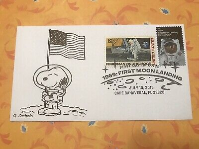 2019 50th Anniversary Moon Landing Snoopy FDC Combo W/ C76 First Moon Landing