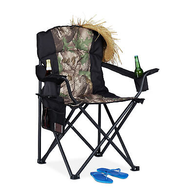Camping Chair Foldable Fishing Chair Drink Holder Upholstered Outdoors