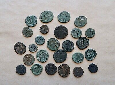 Lot Of 27 Late Roman Bronze Follis To Catalogue. Different Types. A Nice Lot!