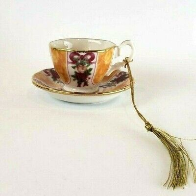 Royal Albert Old Country Roses TeaCup Saucer Christmas Ornament Ruby anniversary