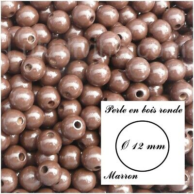 Perle en bois ronde Ø 12 mm : Marron (lot de 30 perles)
