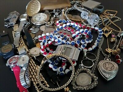 Excellent Junk Drawer Lot Of Jewelry Coins Watches Trinkets Silver, Etc.