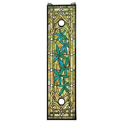 """35"""" H x 9""""  Exotic Floral Garden Asian Tiffany-Style Stained Glass Window Panel"""