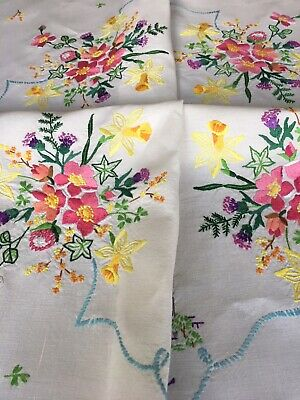 Gorgeous Vintage Linen Hand Embroidered Tablecloth ~ Royal Households~ Flowers