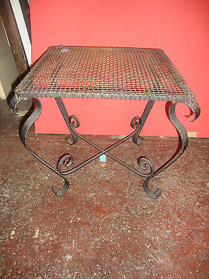 Very unusual  wrought iron and brass mesh coffee table