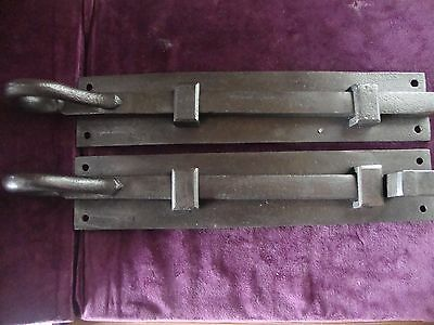 Antique very substantial matching rat tail iron security bolts with keeps