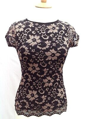 Booho Sexy Black & Beige floral lace Cut out backless cap sleeve stretch top 10