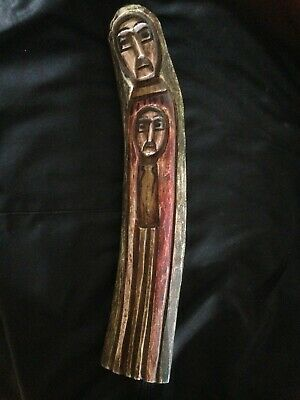 Ethiopian Coptic Virgin Mary and Baby Jesus Wood Carving