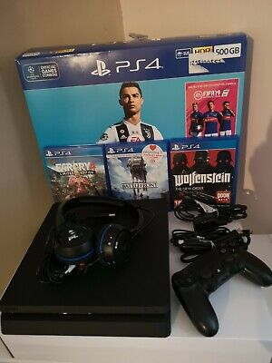 Sony PS4 Slim Console Jet Black Boxed With A Controller & 3 Game Bundle