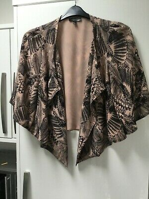 Ladies Bolero Shrug Summer Cover Up Size 12 Nude & Black With Pretty Sleeves 🍃
