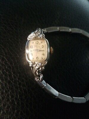 14k Lady elgin White Gold Watch With Two Diamonds