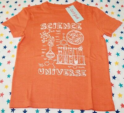 NEW Target Cat and Jack Boys orange Science Universe Short Sleeve Shirt XS 4 5