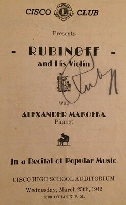 Violinist David Rubinoff Signed Cisco Club Concert Program 1942 Cisco Texas High