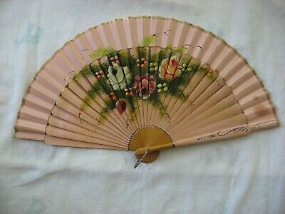 Antique Vintage Victorian Hand Painted Wood Fan