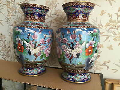 Beautiful Pair of Vintage Chinese Cloisonne Crane Vases Flowers 12 1/2""