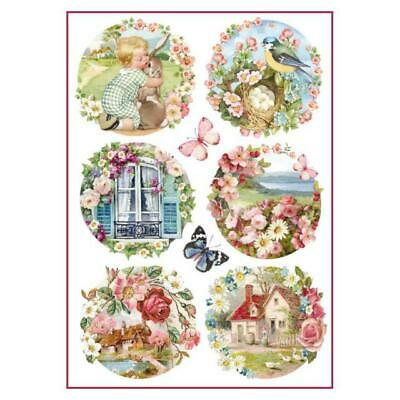 Rice Paper - Decoupage - Stamperia - 1 x A4 Size Sheet - Floral Landscapes