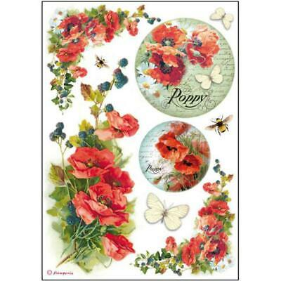 Rice Paper - Decoupage - Stamperia - 1 x A4 Size Sheet - Red Poppies