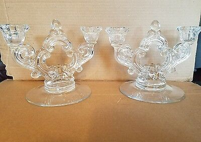 Candle Holders Candlestick  Pair Set Crystal Glass  Cut Flowers Fancy Tabletop
