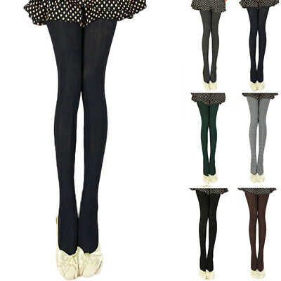 Women Cable Knit Solid Color Sweater Footed Tights Stretch Stockings Pantyhose