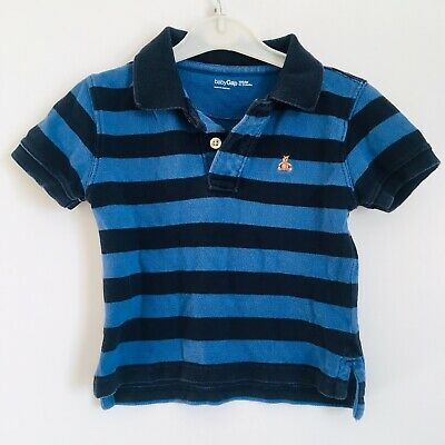 Baby GAP Boys S/S Blue/Navy Stripe Polo Shirts Size 12 - 18 Months