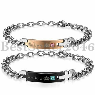 2pcs His Queen Her King Stainless Steel His and Hers Couple Lover Crown Bracelet