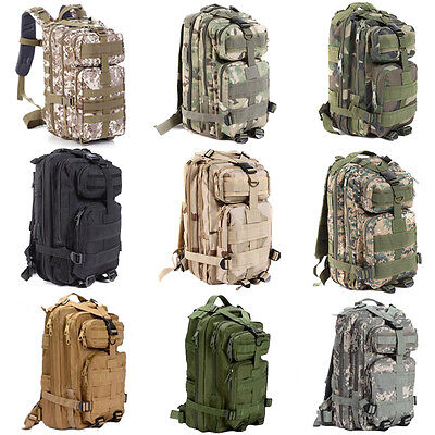 Hiking Camping Bag Army Military Tactical Trekking Rucksack Backpack Camo 30L