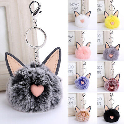 1PC Rabbit Fur Key Chain Pompon Cat Ear Bags Hanging Pendant Balls Keyring