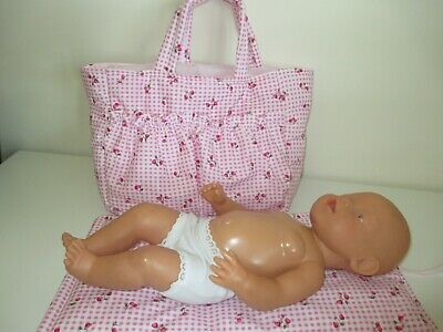 "Dolls Nappy Bag & Change pad, "" Pink Gingham with Strawberry & Cherries """