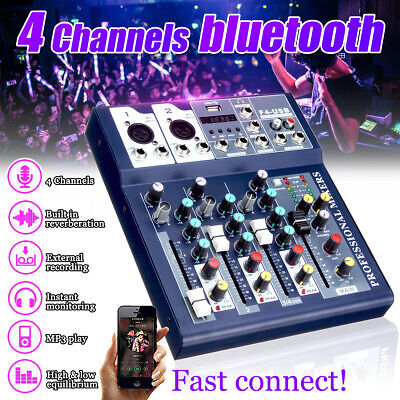 Pro Mini 4 CH USB bluetooth Live Studio Audio Mixer Mixing Console 48V Phantom