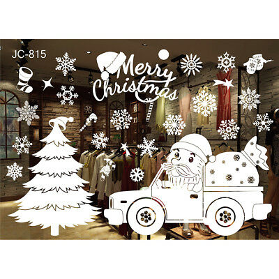 For Christmas Window Glass Stickers Merry Christmas Santa Claus Snow PVC Decals