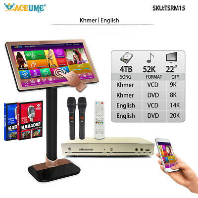 4TB HDD 52K English,Khmer Songs,Touch Screen Karaoke Player, Cloud Update,22'