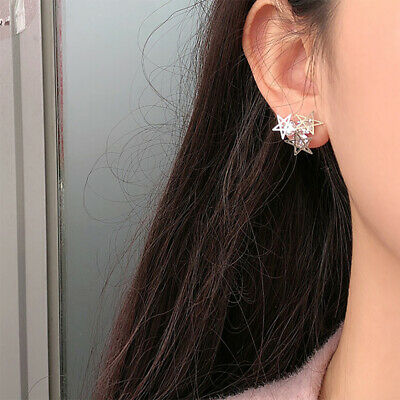 Simple Star Shape Ear Jacket Stud Earrings Ear Climber Pins Jewelry Gift T