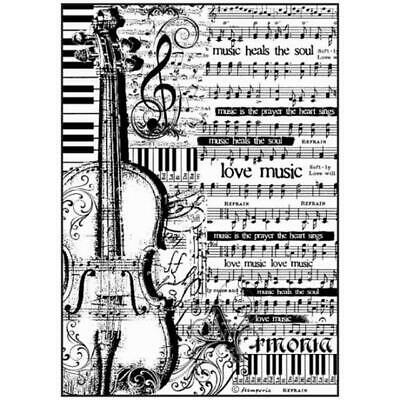 Rice Paper - Decoupage - Stamperia - 1 x A4 Size Sheet - Violin Music