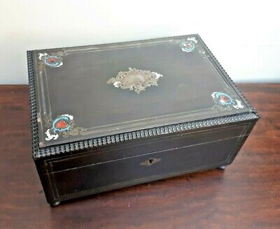 Antique French Boulle Work Table Box Caddy Brass, Enamel & Mother Pearl Inlay
