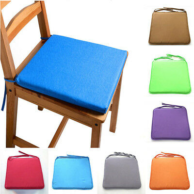 Portable Solid Removable Square Seat Tie-on Cushion Pads Mat 16 in Chair Pads