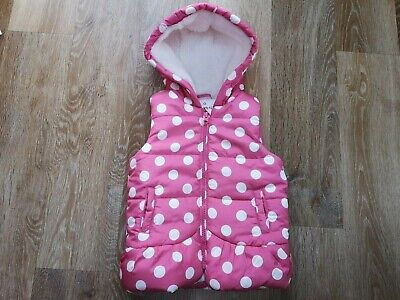 Girls Pink And White Polka Dot Padded Gilet With Hood Ages - 18 - 23 Months