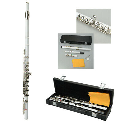 New Standard White School Band Student 16 Closed C Flute with Case&Accessories