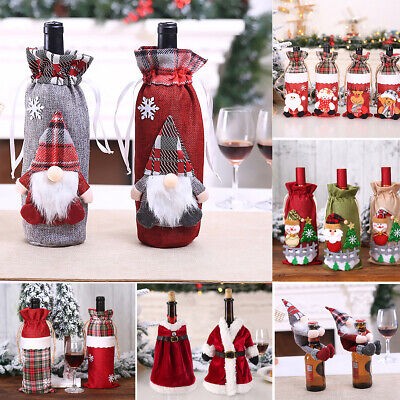 Christmas Wine Bottle Cover Holder Santa Claus Table Decor Dinner Party Supplies