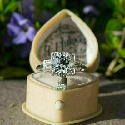 Certified 3Ct Round Diamond Vintage Art Deco Engagement Ring 14k White Gold Over