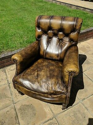 Vintage Chesterfield Wingback Armchair in Chestnut Brown Leather & Brass Castors