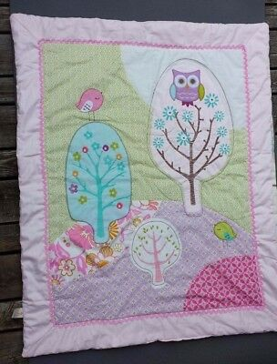 Poppy Seed Lolli Living Crib Blanket 42 x 36 inches Owl Pink Green Reversable