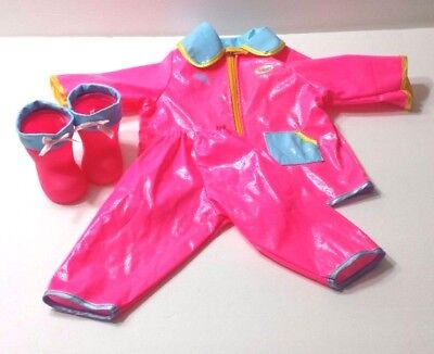 Doll Clothes Snow Suit Rainsuit Boots Mittens Play Pretend House Set of 2 Bayer