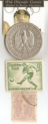 *1896-*greek Olympic stamp+*1936-*german stamp+1936 5mk SILVER EAGLE(.900%,)coin