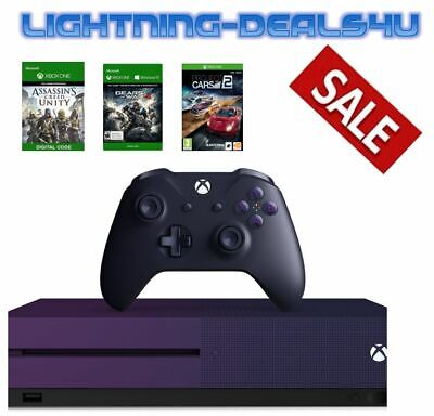 SALE New Microsoft Xbox One S 1TB Special Edition Purple Console Bundle 3 Games!