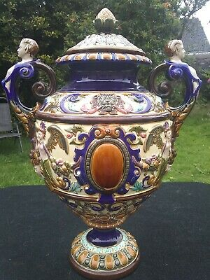 Art Nouveau RORSTAND Majolica lidded large pot rare Sweden Pottery Swedish