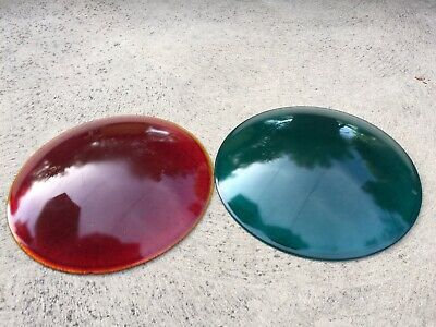"""Two Antique Pittsburgh Colorlite No.2  Traffic Light Lens 9 12"""" Red Green"""