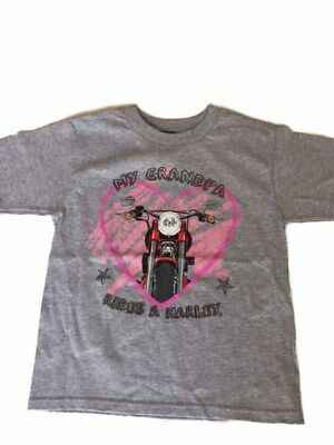 "Harley-Davidson Little Girls Gray ""my grandpa rides a harley"" shirt 2T"